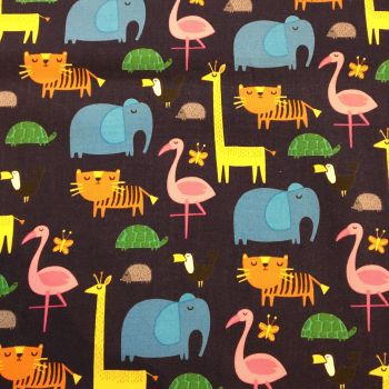 Tropical Animals Cotton Canvas