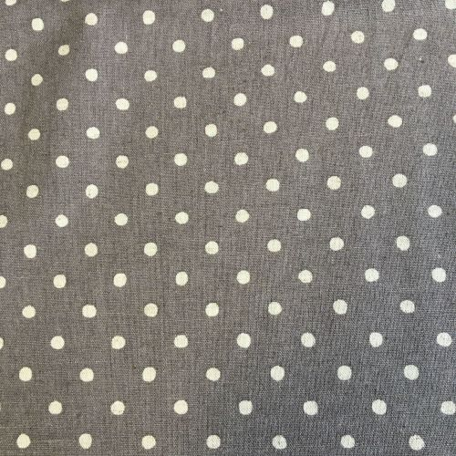 Grey Polka Dot Cotton Canvas