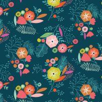 Floral Flock Navy