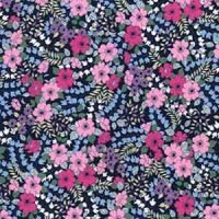 Cotton Poplin Flower on Navy