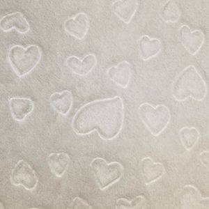 Fleece Fabric Hearts White