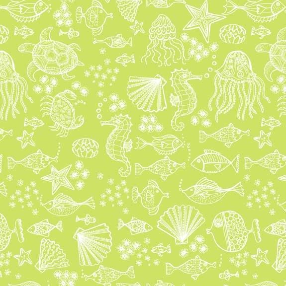 Makower Merryn Under The Sea Green Cotton Fabric