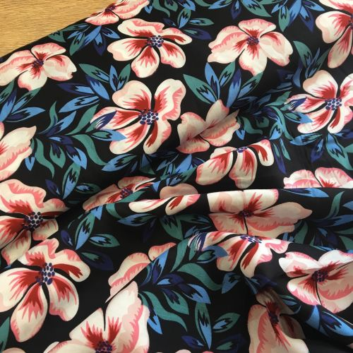 Viscose Lawn Dress Fabric Navy Flowers