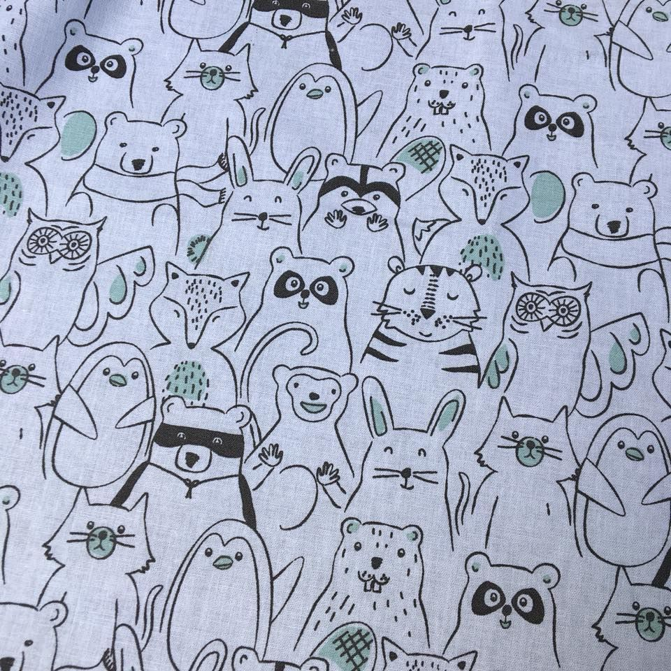 Cotton Fabric Bandits and Friends Extra Wide