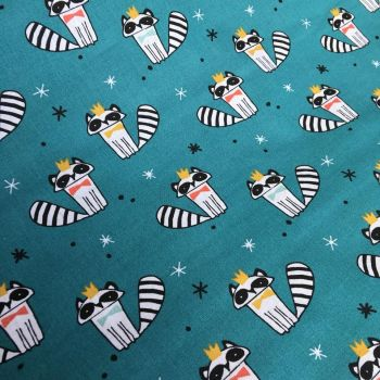Cotton Fabric Raccoons Extra Wide