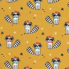 Cotton Jersey Fabric Raccoons