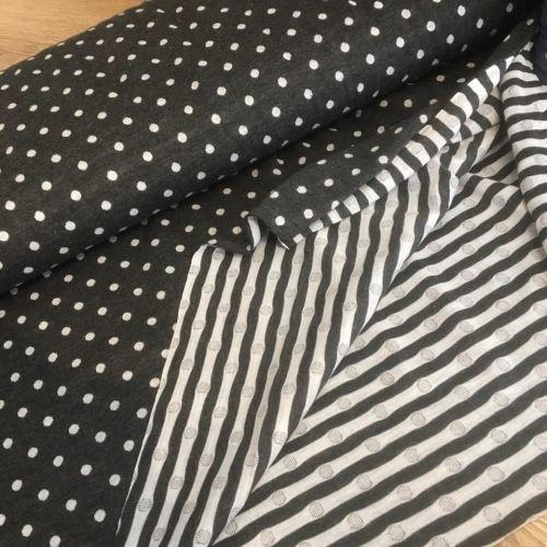 Polka Dot Double Side Knit Slate