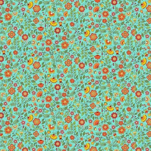 Makower Bloom Floral Scroll Fabric