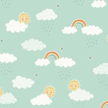 Makower Counting Sheep Clouds Fabric