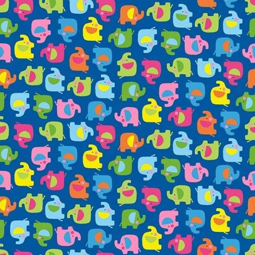 Makower Ellie Blue Elephants Fabric