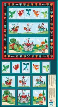 Makower Dragon Hearts Fabric Panel