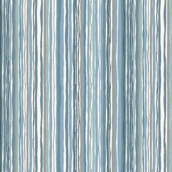 Makower Woodland Stripe Blue Fabric
