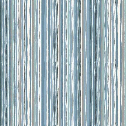 Woodland Stripe Blue Makower Fabric
