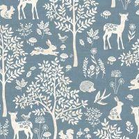 Makower Woodland Forest Blue Fabric