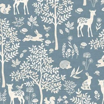 Makower Woodland Forest Blue Fabric