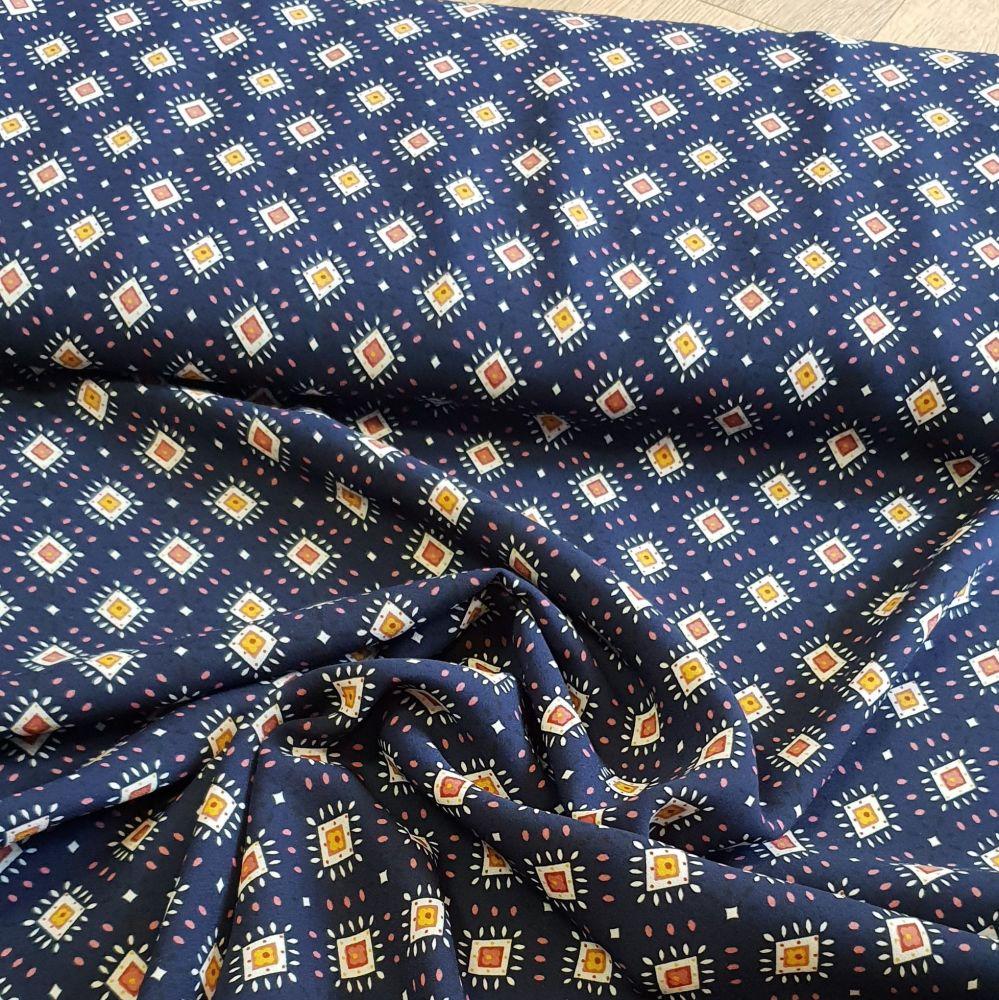 Polyester Dress Fabric Navy Aztec