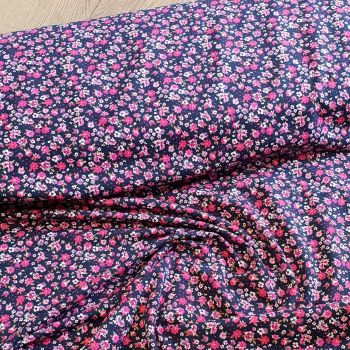 Jersey Fabric Small Flowers Navy