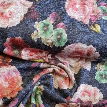 Jersey Knit Fabric Navy Floral