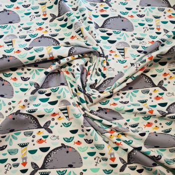 Jersey Fabric Whales