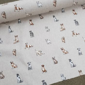 Dogs Linen Look Cotton Fabric