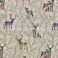 Winter Stags Linen Look Cotton Fabric