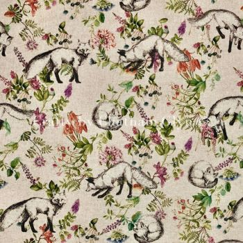 Botanical Fox Linen Look Cotton
