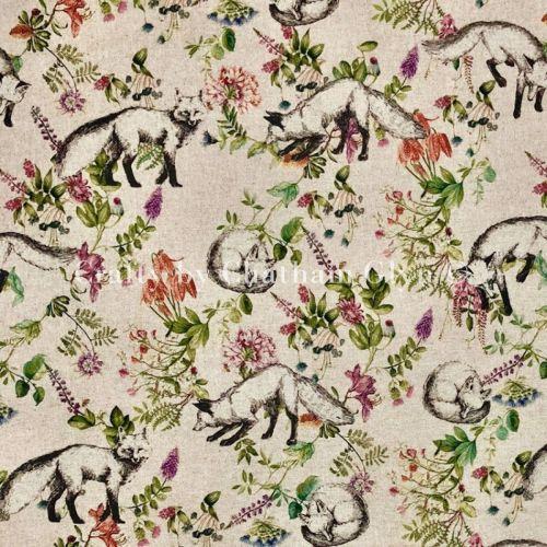 Botanical Fox Linen Look Cotton