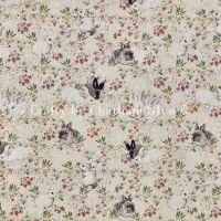 Rabbits & Hares Linen Look Fabric