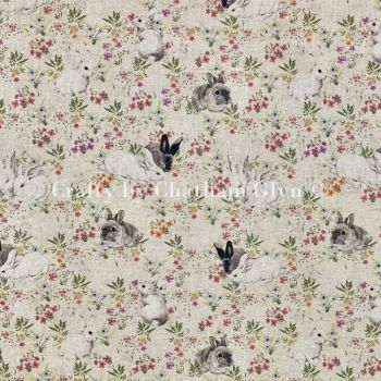 Rabbits & Hares Linen Look Fabric