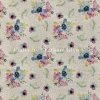Botanical Flowers Linen Look Fabric