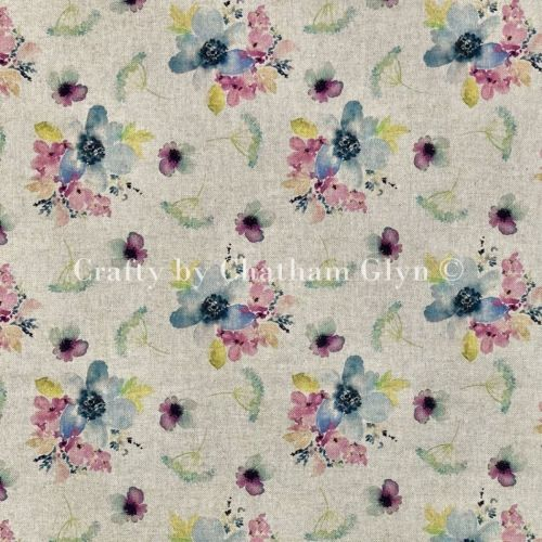 Botanical Flowers Linen Look Fabric