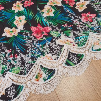 Viscose Embroidery Dress Fabric Black