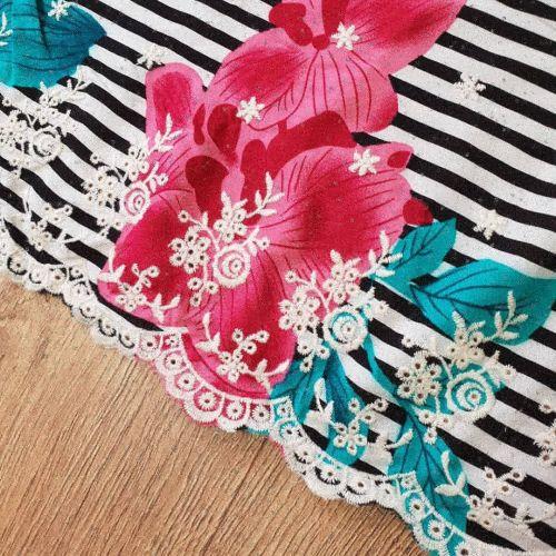 Viscose Embroidery Dress Fabric Stripe