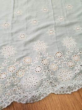 Viscose Embroidery Dress Fabric Mint