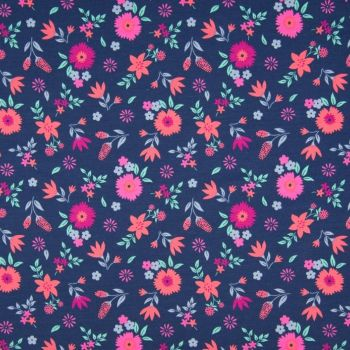 Cotton Jersey Flowers on Navy