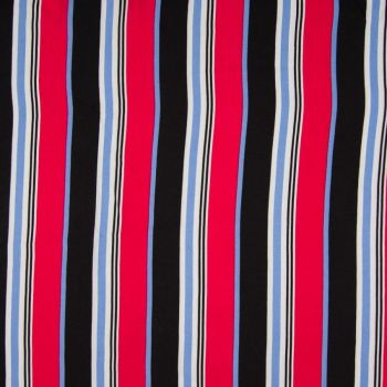 Viscose Stripe Black Red Blue