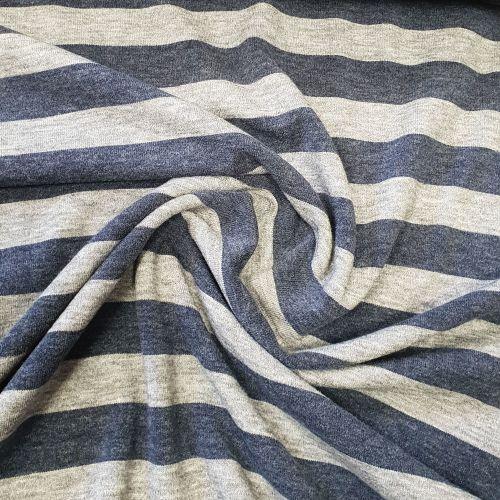 Stretch Jersey Knit Navy Stripes