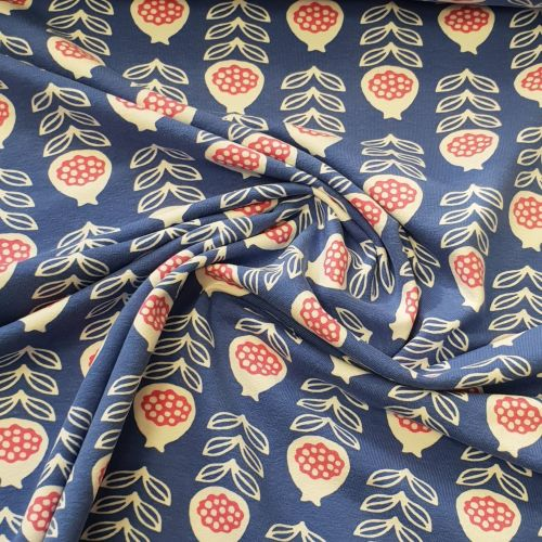 Cotton Jersey Flowers on Soft Blue