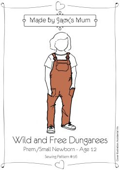 MBJB Wild And Free Dungarees Pattern Age Newborn to 12 Years