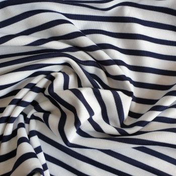 Stretch Polyester Nautical Navy on White