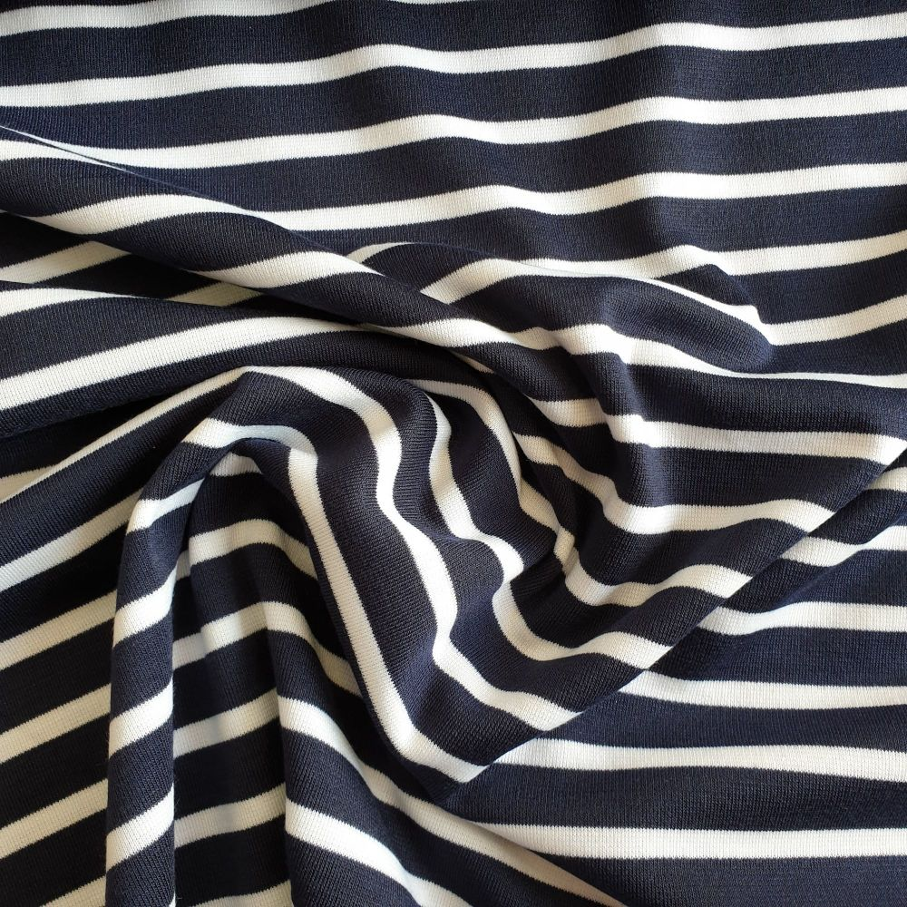 Stretch Polyester Nautical Stripes White on Navy