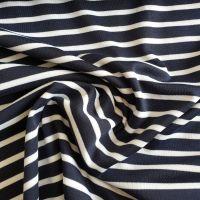 Stretch Polyester Nautical Stripes White on Navy