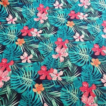 Cotton Poplin Tropical Flowers Navy