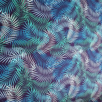 Cotton Poplin Tropical Leaves on Navy