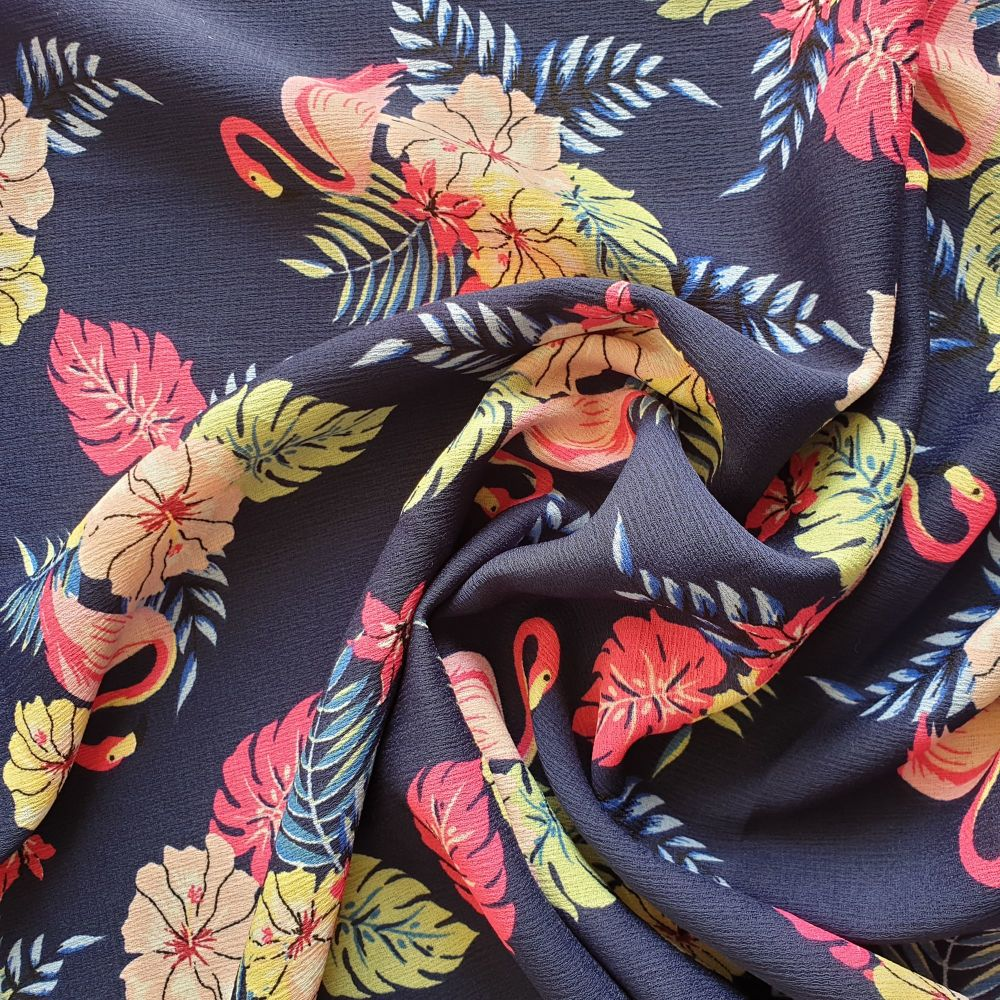 Polyester Ribble Print Flamingos