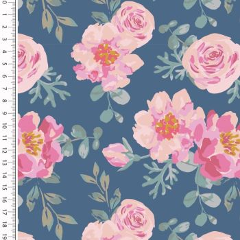 French Terry Roses Denim Blue