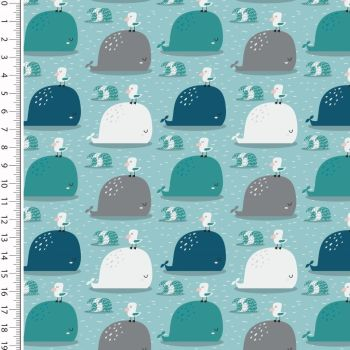 Cotton Jersey Whales Mint