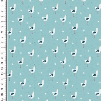 Cotton Jersey Fabric Seagulls