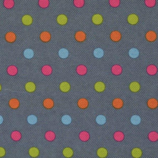 Denim Polka Dots Canvas PVC Coating
