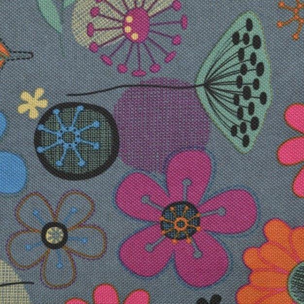Denim floral Canvas PVC Coating